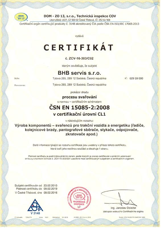 Certifikát ČSN EN 15085 -2:2008
