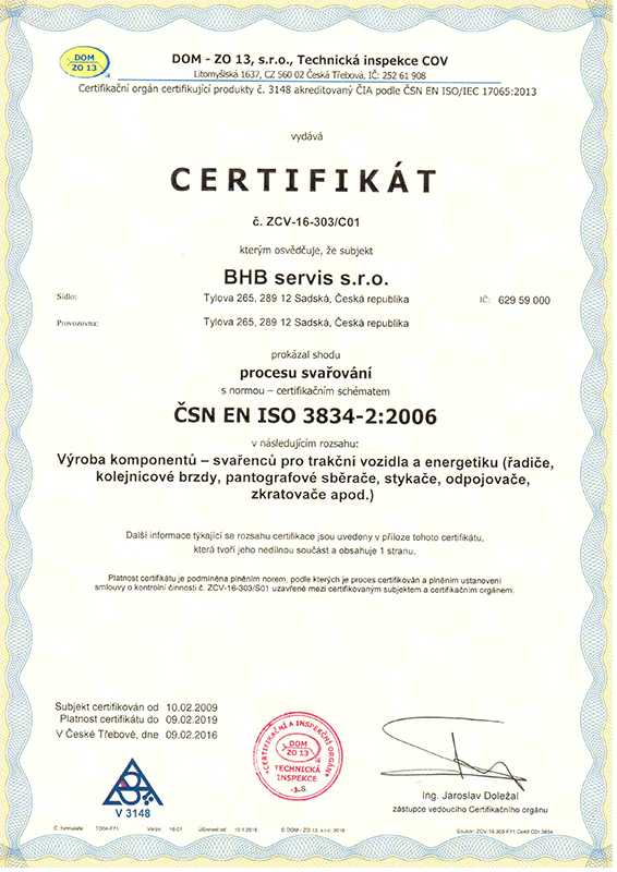 Certifikát ČSN EN ISO 3834-2:2006